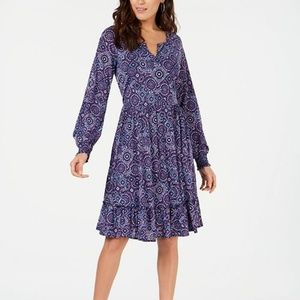 Style & Co Printed Ruffle Fit & Flare Dress NWT XL